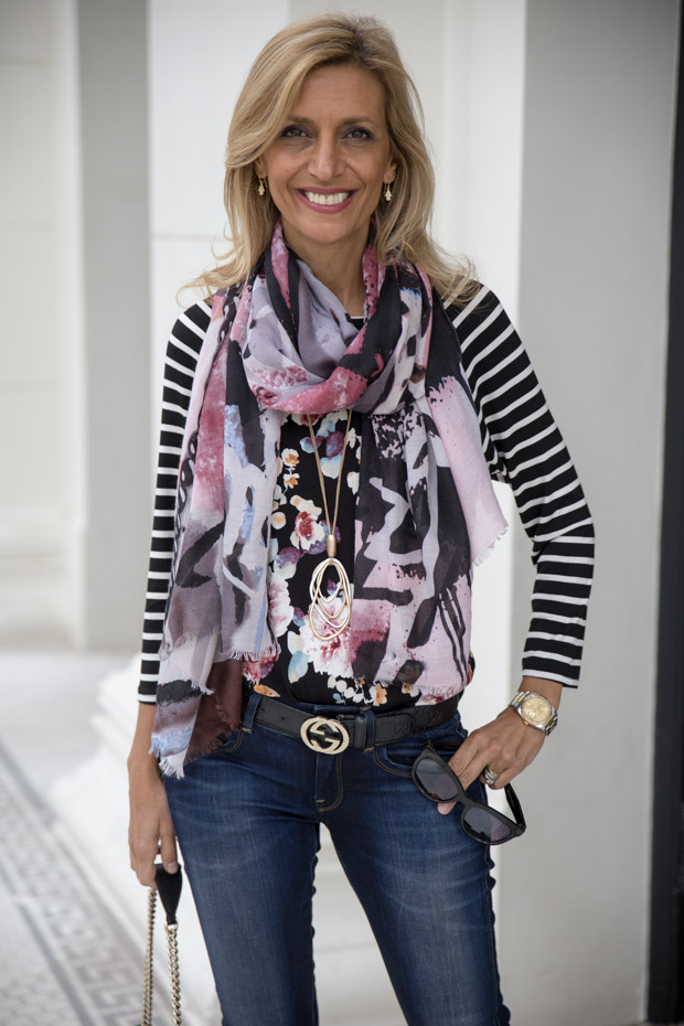 New Floral Stripe T Shirt and Black Rayon Belted Moto Jacket