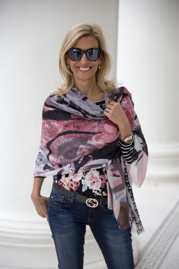 New Floral Stripe T Shirt with graphic shawl scarf