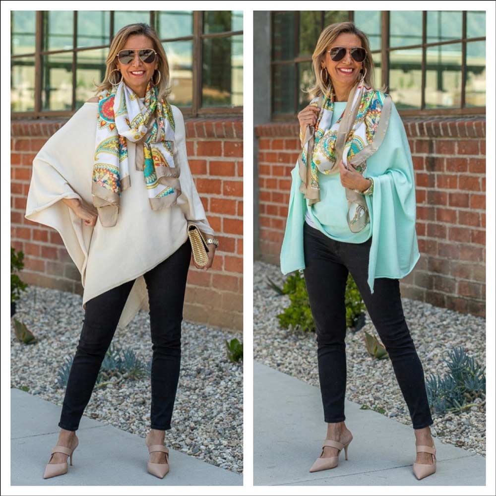 spring cashmere blend ponchos for women