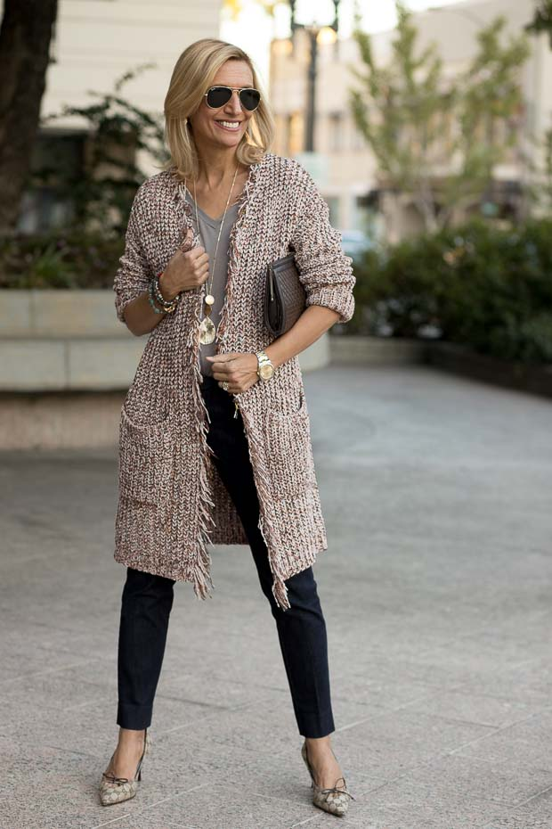 Womens Chenille Long Cardigan With Multi Colored Yarn Styled With Two Tops