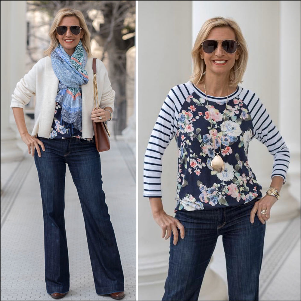 Navy and Ivory outfit for women with a pop of color