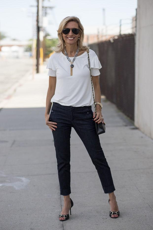 Ivory ruffle sleeve blouse