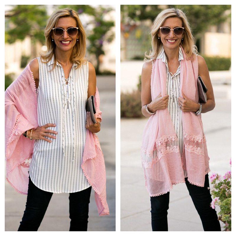 Pink-gauze-wrap-with-lace-trim-