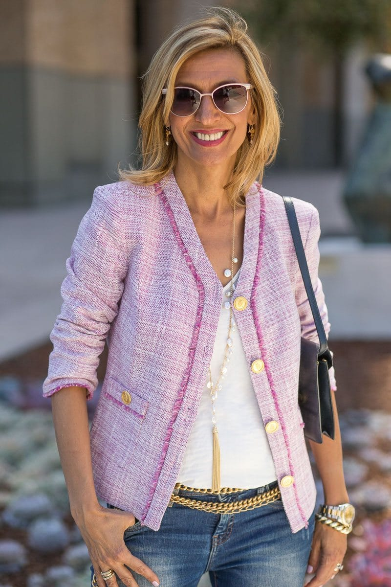 womens rose pink jacket, rose fringe womens jacket