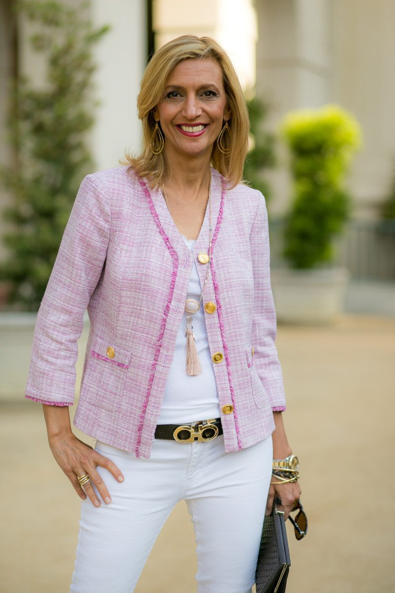 rose fringe boucle jacket with gold buttons at pasadena city hall