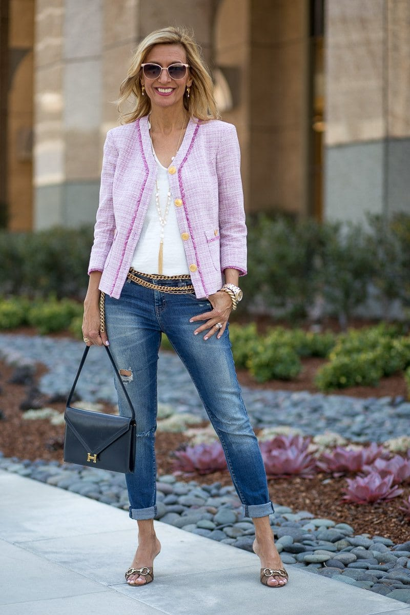 boucle jacket for women cropped in a pink boucle fabric