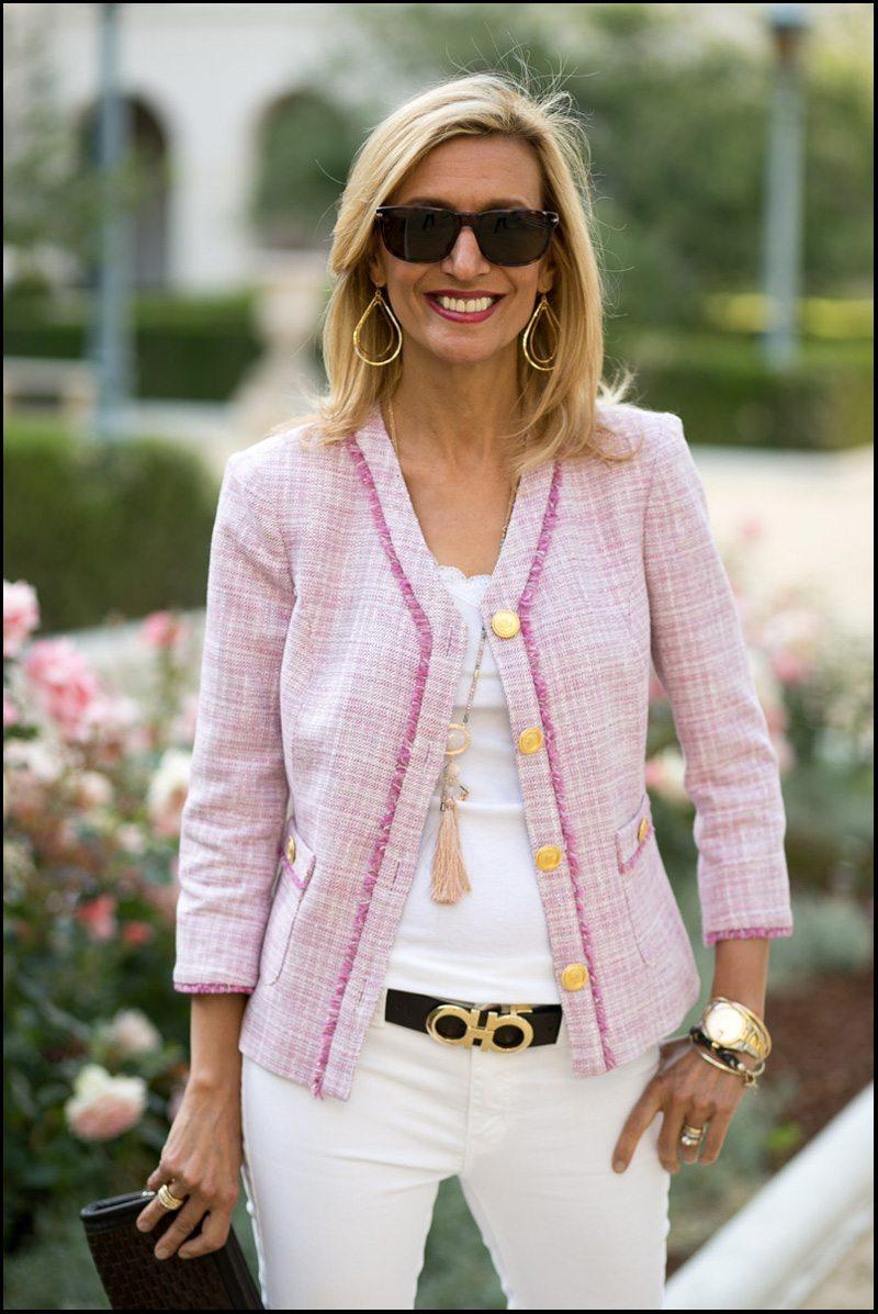 Rose Fringe Jacket With Pale Pink Stone Necklace