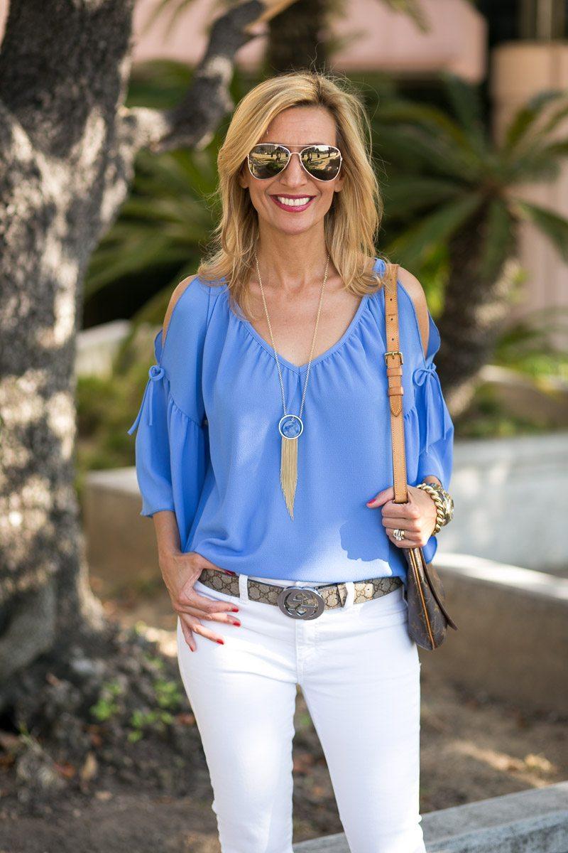 cobalt blue cold shoulder top