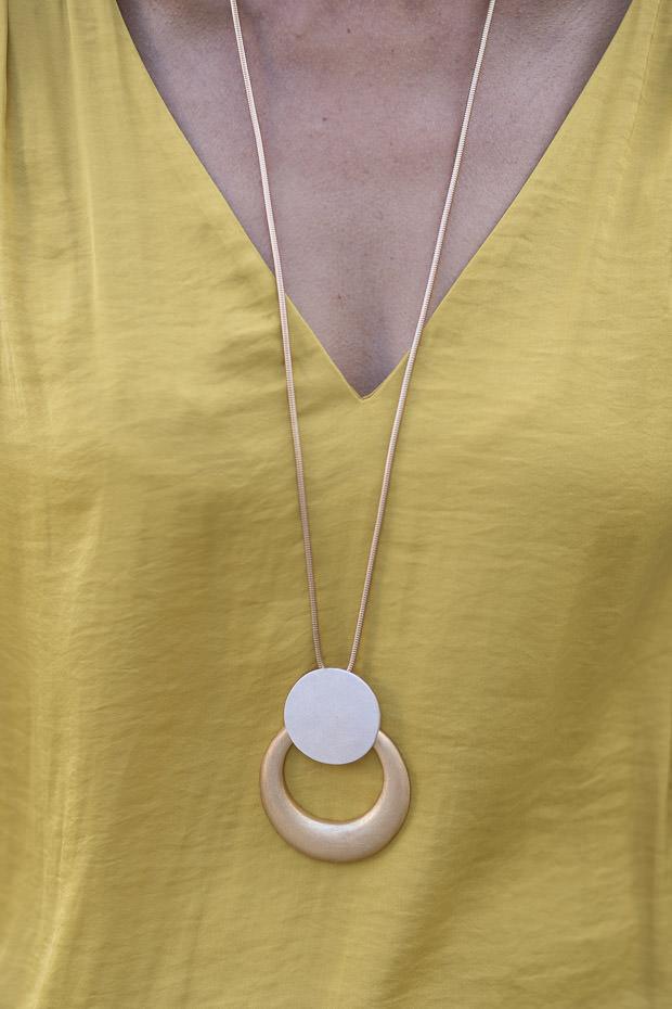 Golden Yellow Florence Sleeve V Neck Blouse for women