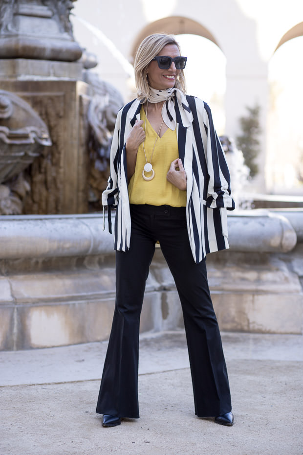 Black And Ivory Stripe Blazer for women with Yellow Blouse