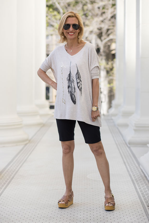 Heather Tan Oversized Feather print graphic top for women