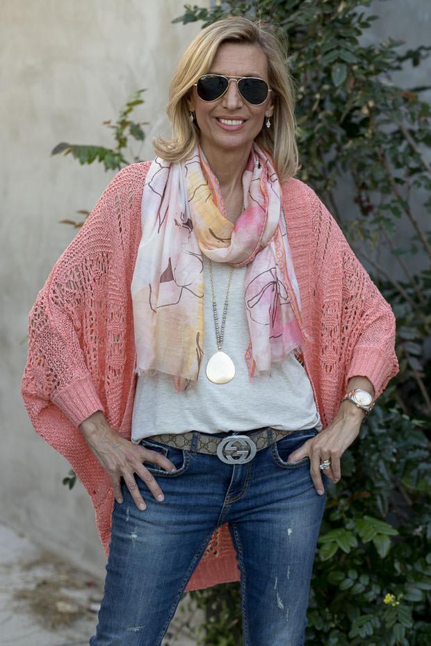 peach tape yarn crochet Cardigan
