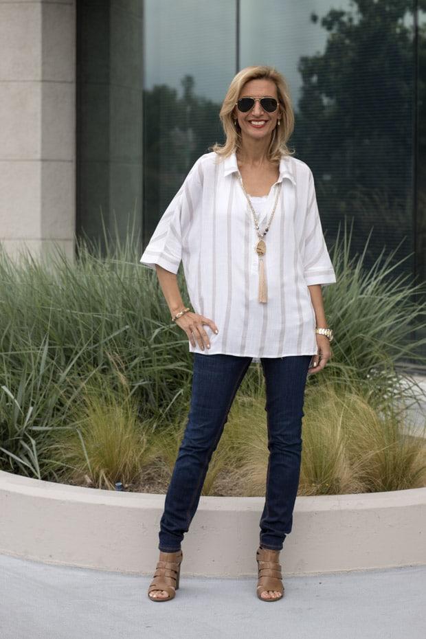 white and tan stripe dolman sleeve shirt