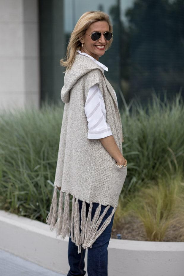 Jute Hooded Sweater Vest with long finge