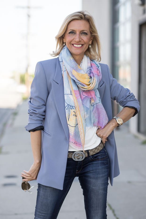 Womens Classic Sky Blue Blazer Styled with a pastel water color scarf