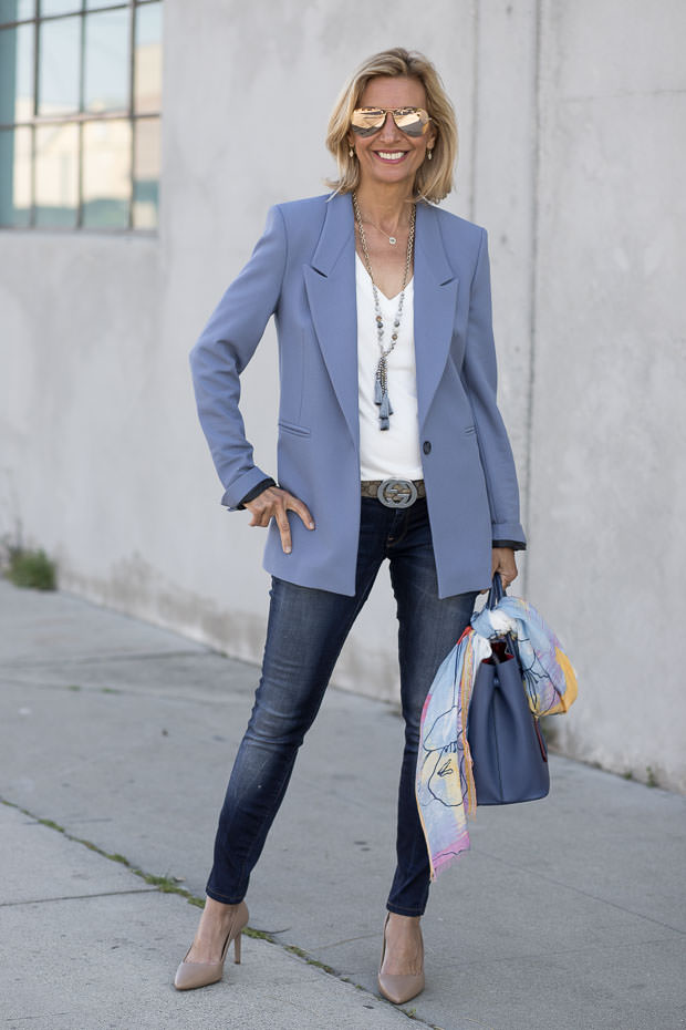 Womens Classic Sky Blue Blazer Styled By Jacket Society