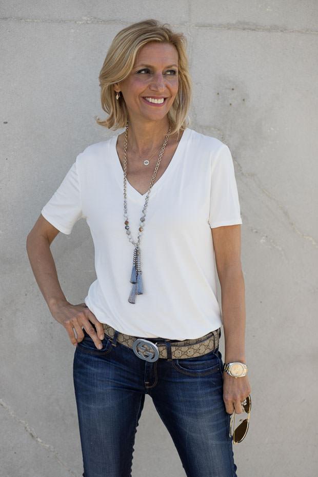 Ivory V Neck Short Sleeve Top for women