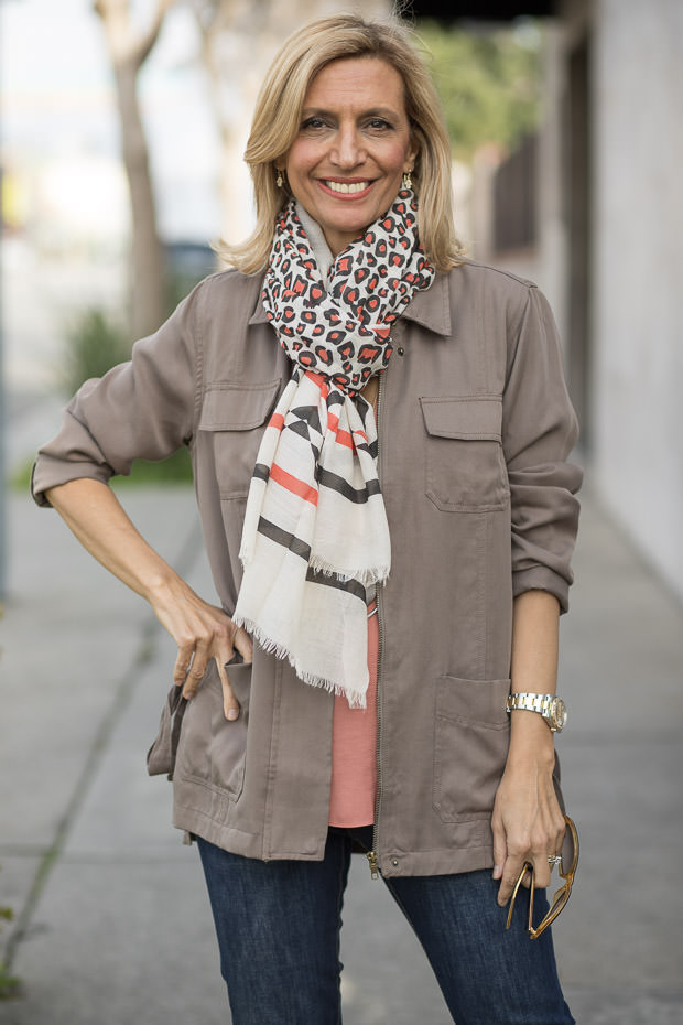 Transitional Color Story Terracotta Blouse and Olive Cargo Jacket