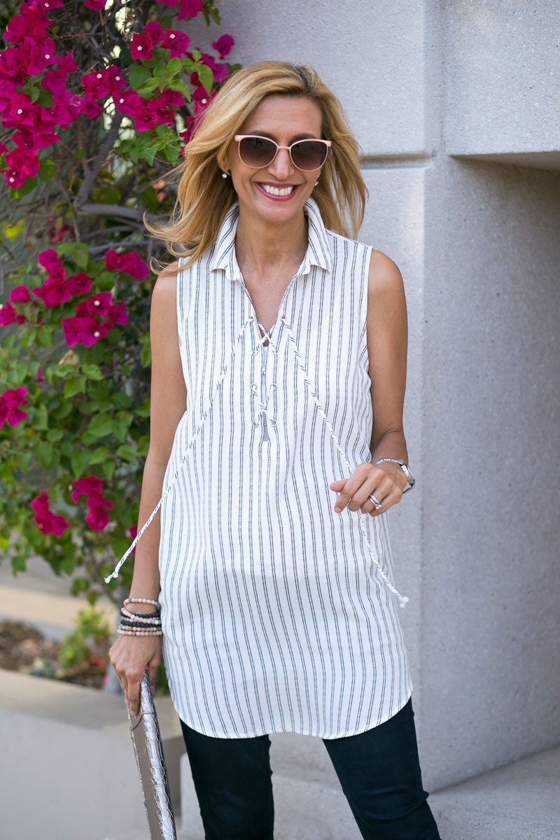 The Stripe Lace Up Tunic
