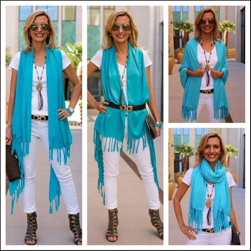 Turquoise Shawl Vest With Turquoise Necklace With Brown Suede Fringe