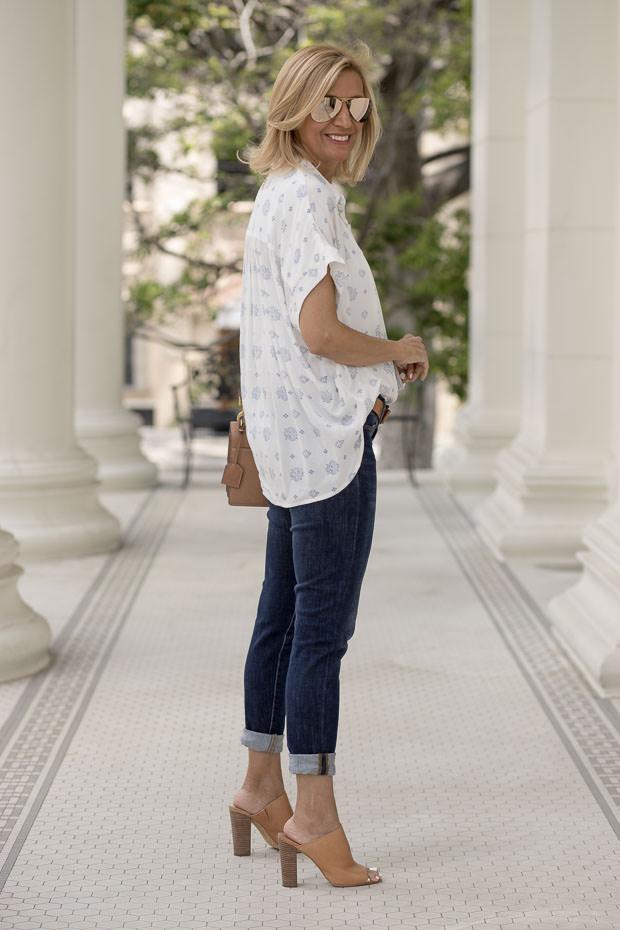 Pretty white and blue print womens blouse