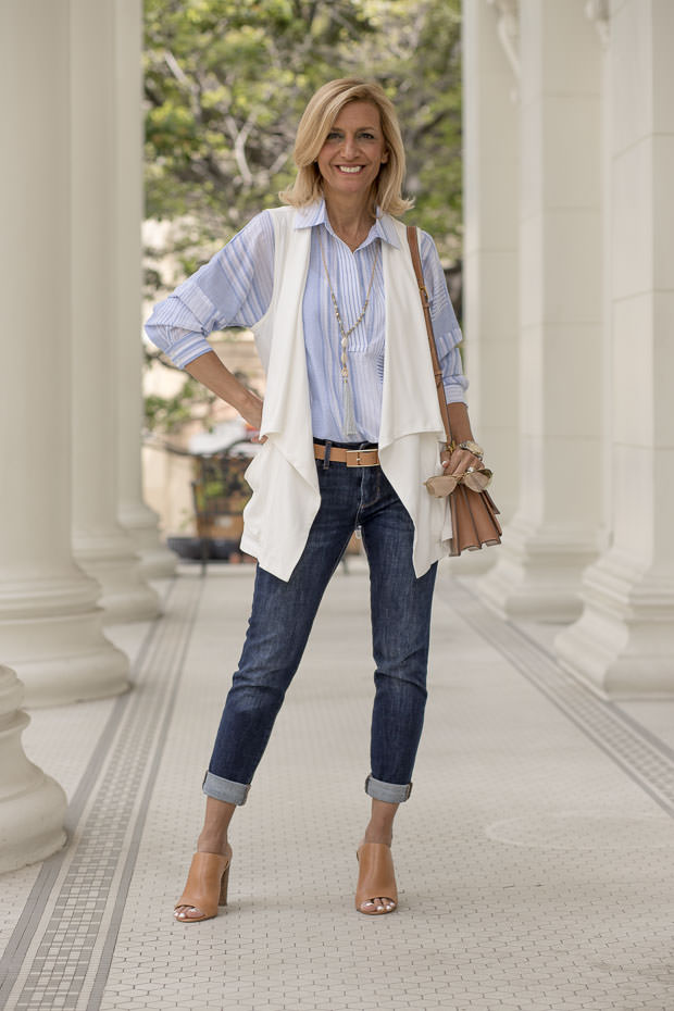 Blue and white multi stripe blouse with ivory cargo vest