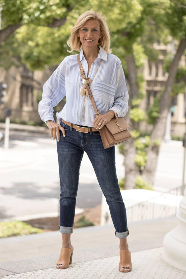 Blue and white multi stripe oversize blouse for women