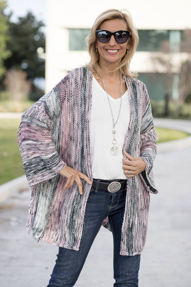 womens pink gray black cardigan with fringe detail