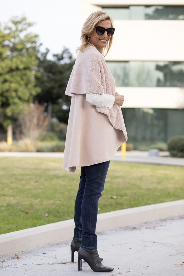 Blush Faux Suede and shearling cape vest for women