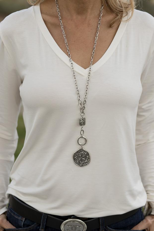 ivory v neck long sleeve top
