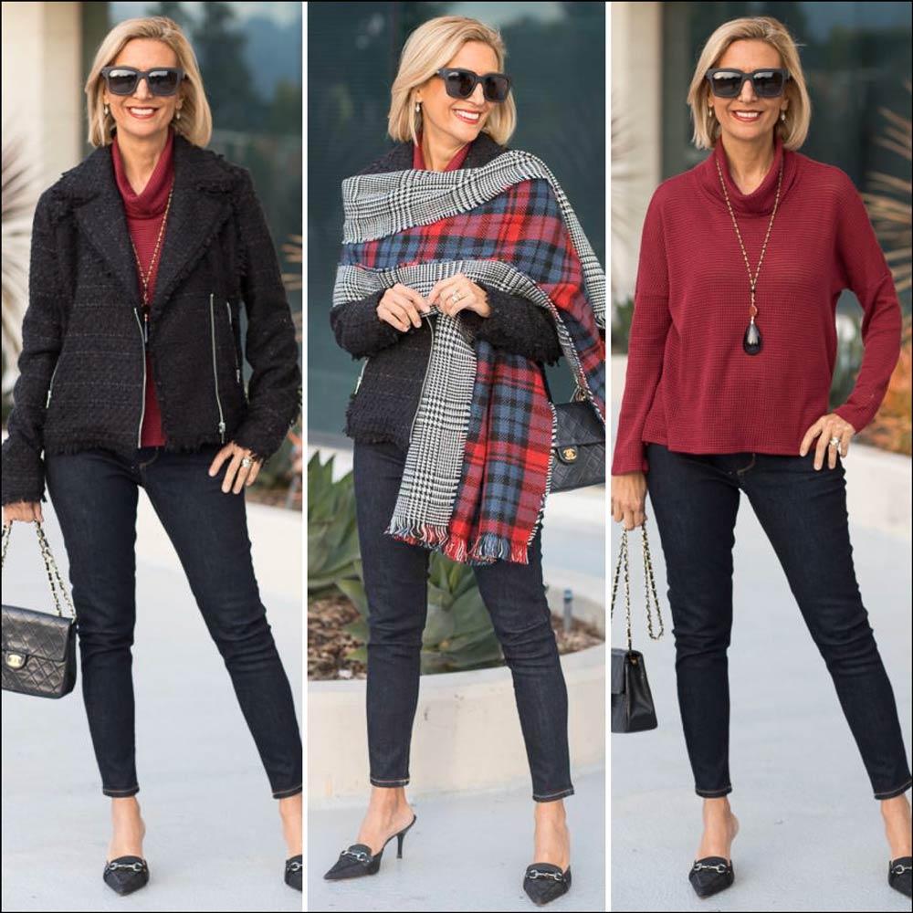 Womens Ebony Boucle Jacket Styled for the holidays