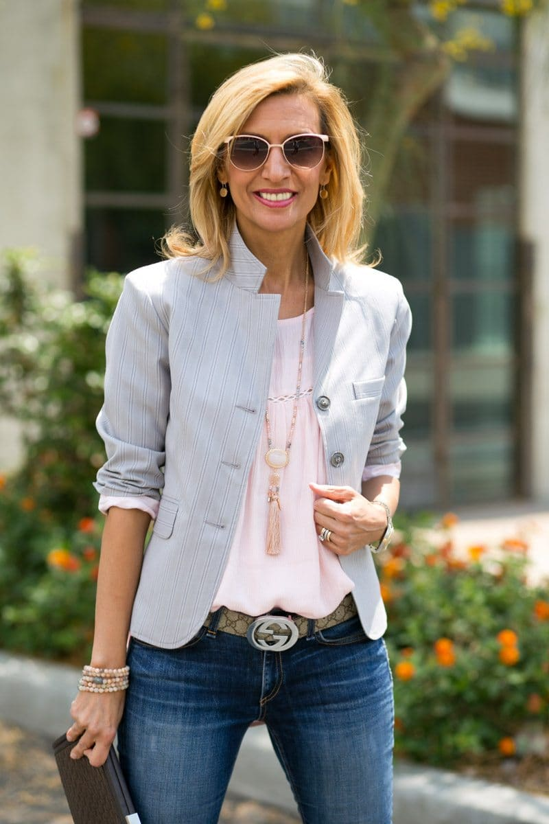 Womens cropped blazer in gray and pink stripes looks great with this rose quartz pink blouse