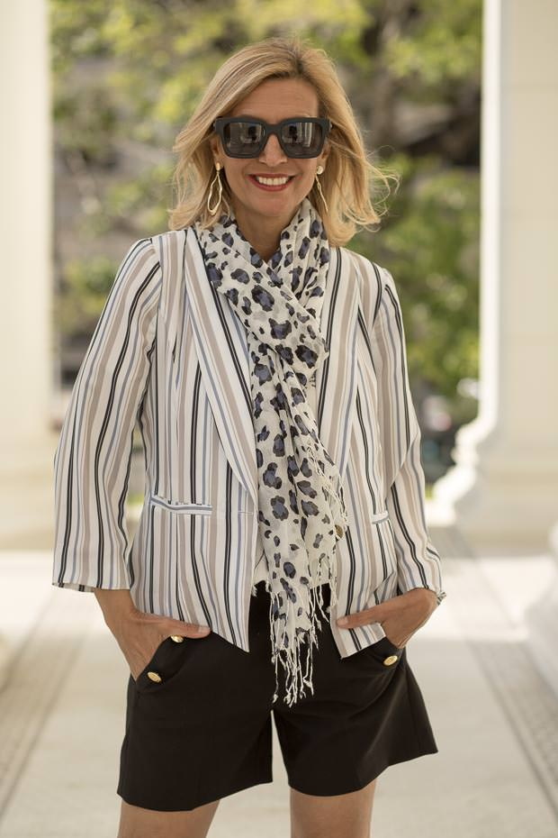 Womens Summer Stripe Jacket with leopard print scarf