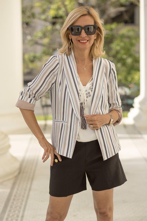 Womens Summer Stripe casual light weight Jacket