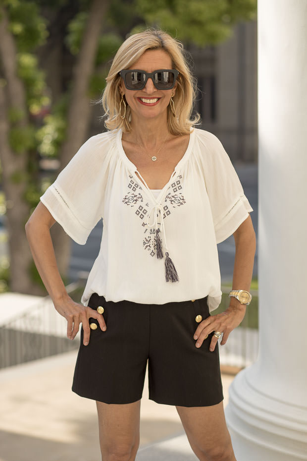 Womens White Peasant Blouse with Embroidery