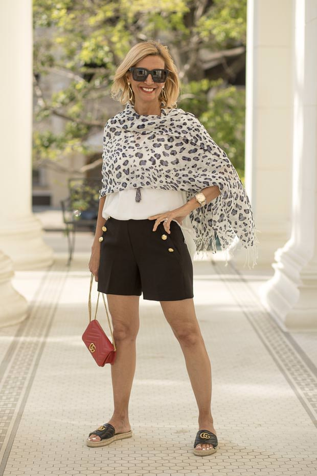 Womens White Peasant Blouse with light weight leopard print scarf