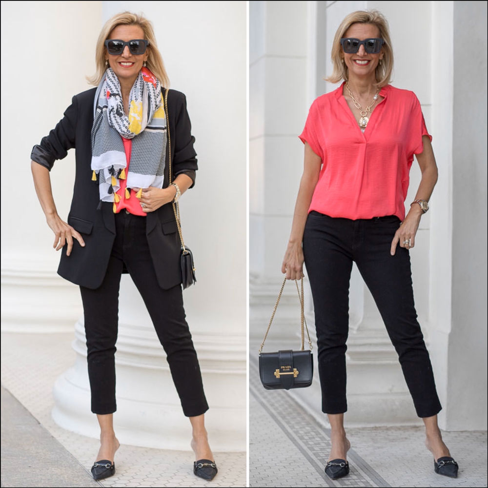 Womens Fashion All Black Outfit With A Pope Of Color