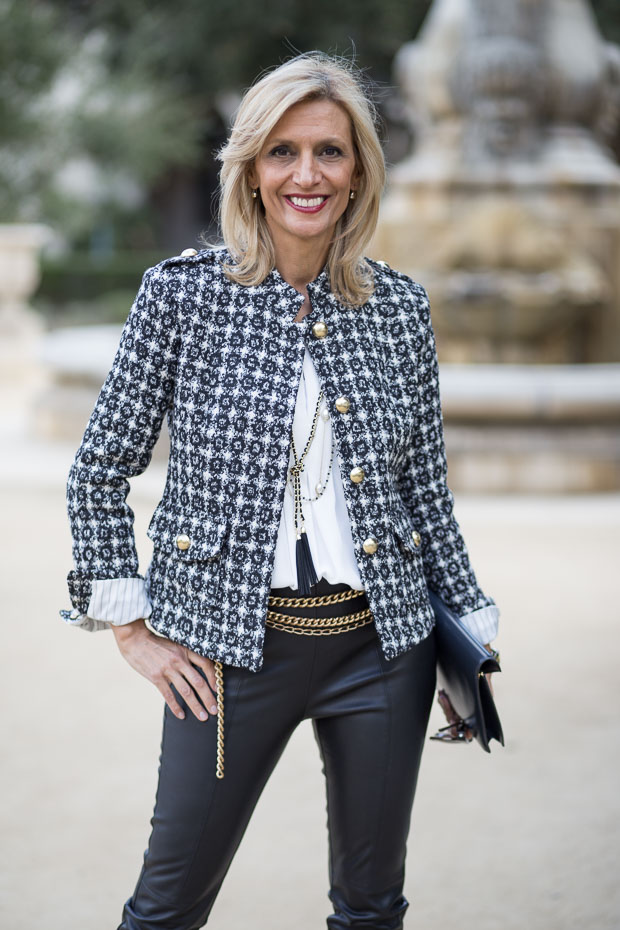 classic black and white boucle jacket for women