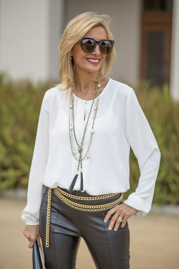 ivory long sleeve blouse for women with pleated front plaque