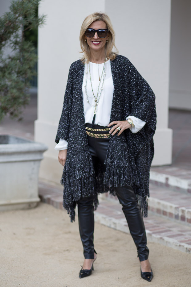black and white boucle poncho for women